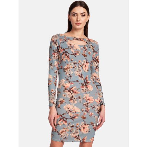 Kazo Women Blue & Beige Printed Bodycon Dress