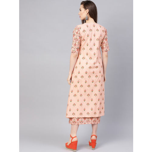 Libas Women Peach-Coloured & Burgundy Printed A-Line Dress with Ethnic Jacket