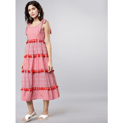 Tokyo Talkies Women Red & White A-Line Dress
