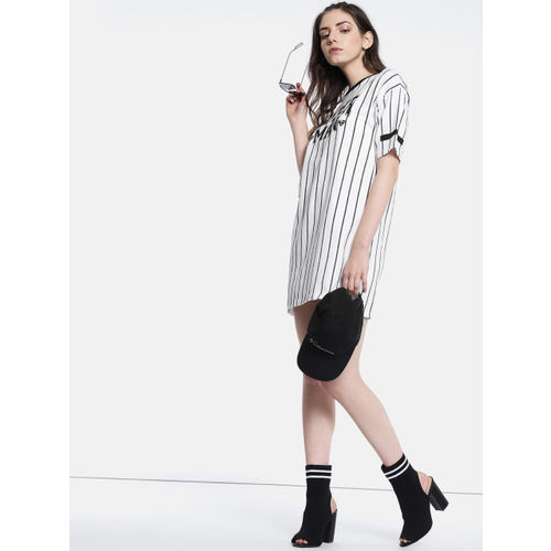 Justice League Women White & Black Striped T-shirt Dress