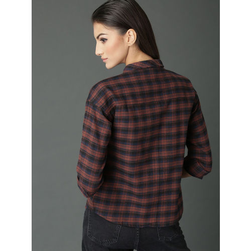 Roadster Women Rust Brown & Black Boxy Fit Checked Shirt