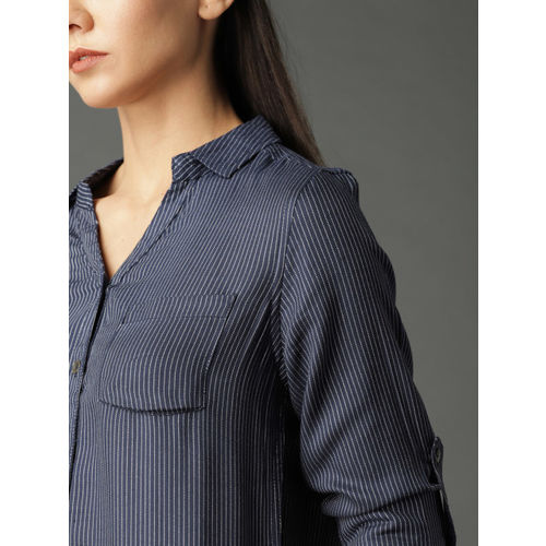 Roadster Women Navy Relaxed Fit Striped Casual Shirt