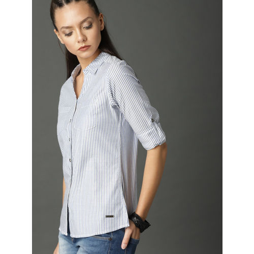 Roadster Women Blue & White Regular Fit Striped Casual Shirt
