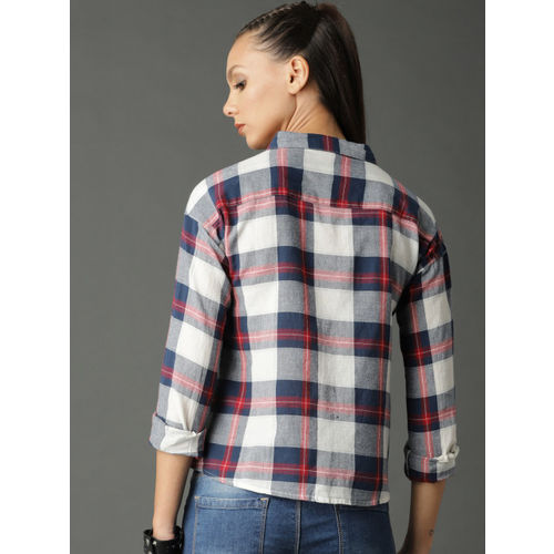 Roadster Women White & Navy Boxy Checked Shirt with Print