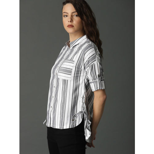 Roadster Women White & Black Regular Fit Striped Casual Shirt