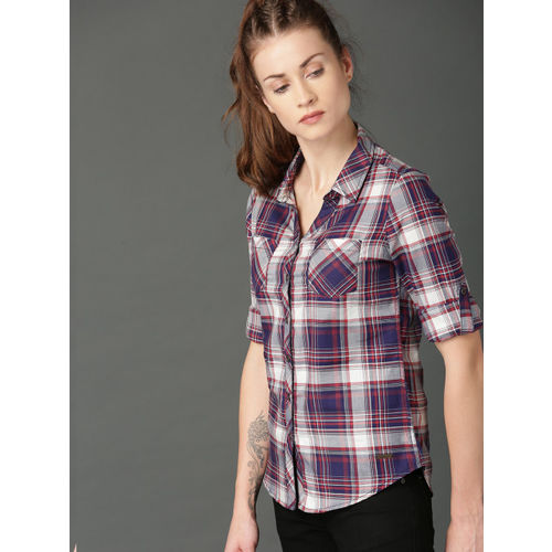 Roadster Women Navy Blue & White Regular Fit Checked Casual Shirt
