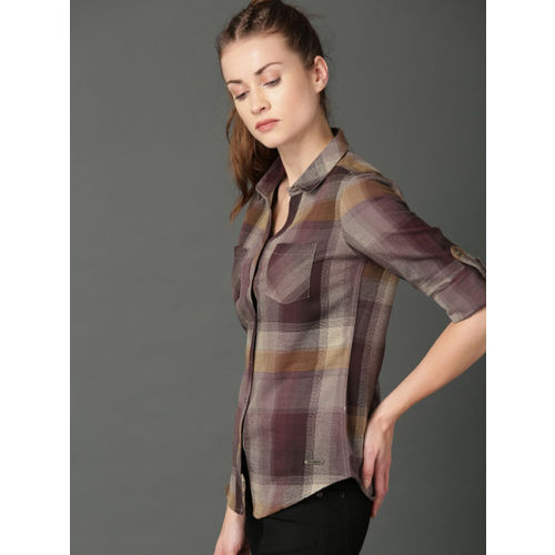 Roadster Women Burgundy & Beige Regular Fit Checked Casual Shirt