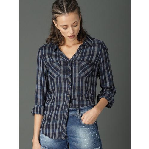 Roadster Women Navy Blue Regular Fit Checked Casual Shirt