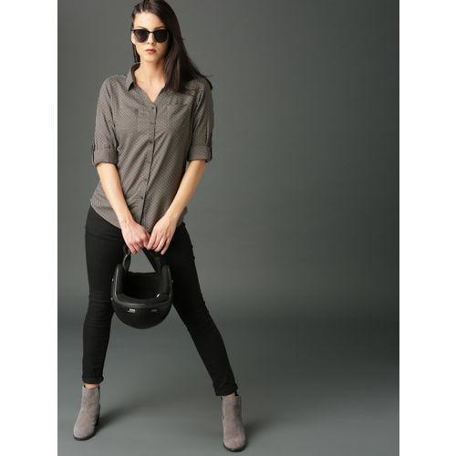 Roadster Women Grey Regular Fit Printed Casual Shirt