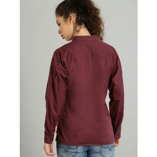 Roadster Women Magenta Regular Fit Solid Casual Shirt