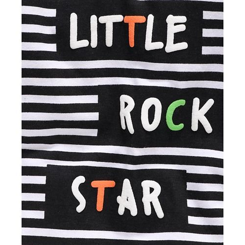 Babyhug Full Sleeves Tee Striped Text Print - Black White