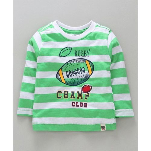 Cucumber Full Sleeves Striped T-Shirt Rugby Print - Green