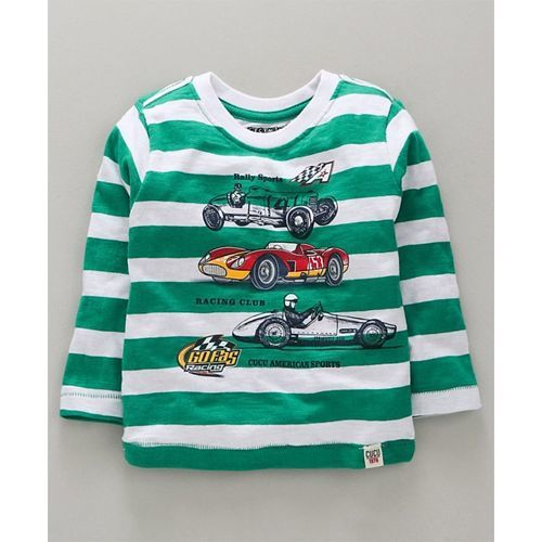 Cucumber Full Sleeves Striped T-Shirt Car Print - Dark Green