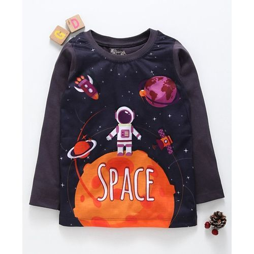 Eteenz Full Sleeves T-Shirt Space Print - Grey