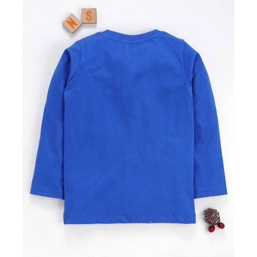 Eteenz Full Sleeves Tee Space Print - Dark Blue