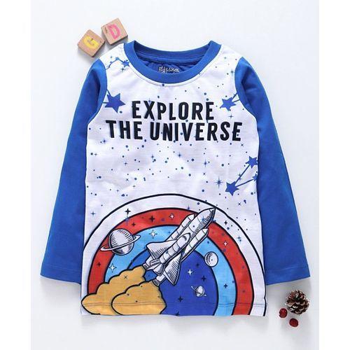 Eteenz Full Sleeves T-Shirt Universe Print - Blue