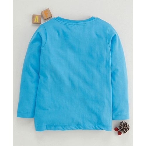 Eteenz Full Sleeves T-Shirt Space Print - Teal Blue