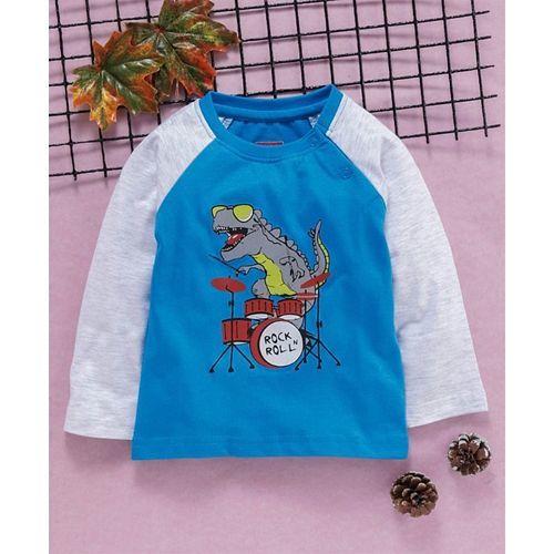 Babyhug Full Sleeves Tee With Dinosaur Print - Blue