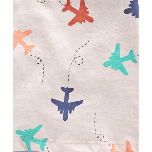 Tango Full Sleeves Tee Aeroplane Print - Light Peach Red