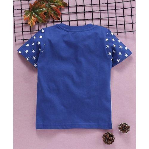 Babyhug Half Sleeves Tee Star Print - Blue & Grey