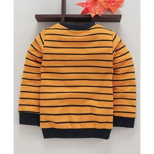 Simply Full Sleeves Striped T-Shirt Big Man Embroidered - Yellow