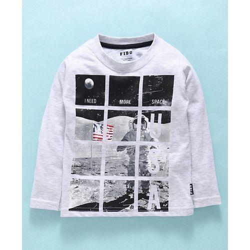 Fido Full Sleeves T-Shirt Space Print - Light Melange Grey