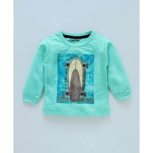 Cucumber Full Sleeves Tee Skate Board Print - Sea Green