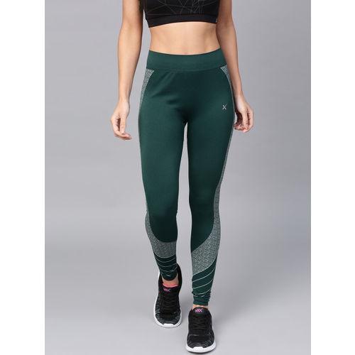 HRX by Hrithik Roshan Women Green & White Yoga Seamless Solid Tights