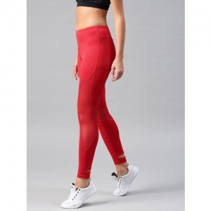 HRX by Hrithik Roshan Women Red Rapid-Dry Cropped Mesh Detail Lifestyle Tights