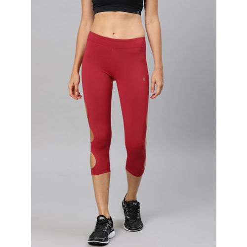 HRX by Hrithik Roshan Women Red Solid Three-Fourth Length Tights
