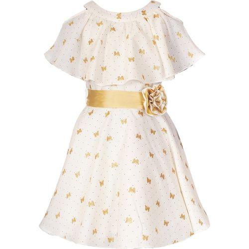 Naughty Ninos Girls Midi/Knee Length Casual Dress(White, Sleeveless)