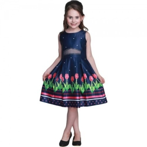 Cutecumber Girls Midi/Knee Length Party Dress(Dark Blue, Sleeveless)
