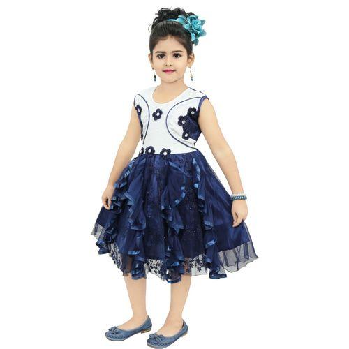 Chandrika Pearls Girls Midi/Knee Length Party Dress(Dark Blue, Sleeveless)