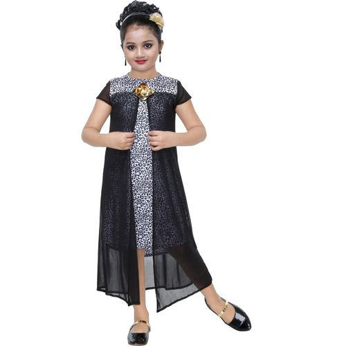 KAARIGARI Girls Maxi/Full Length Party Dress(Black, Cap Sleeve)