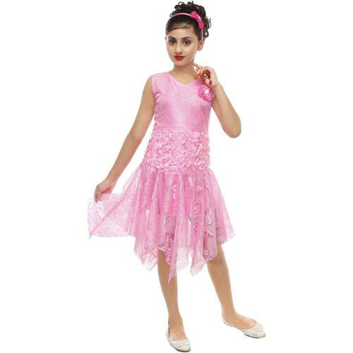 FTC FASHIONS Girls Midi/Knee Length Party Dress(Pink, Sleeveless)
