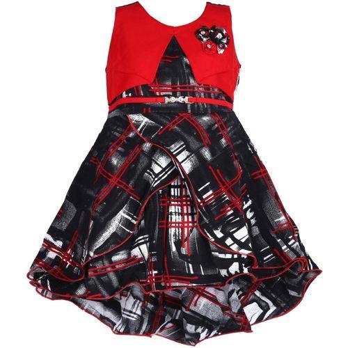 BIDHAN Girls Midi/Knee Length Casual Dress(Red, Sleeveless)