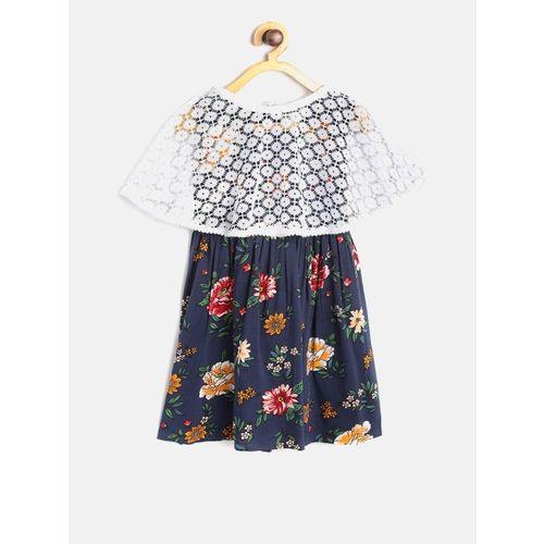 Bella Moda Girls Midi/Knee Length Casual Dress(Blue, Sleeveless)