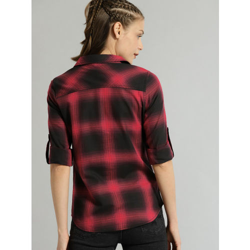 Roadster Women Maroon Regular Fit Checked Casual Shirt