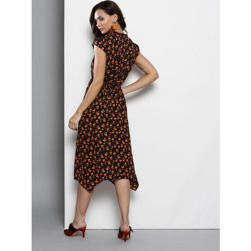 DOROTHY PERKINS Women Black & Orange Printed Fit & Flare Dress