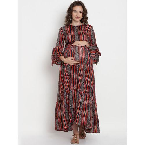 Mine4Nine Women Red & Black Striped Maternity Maxi Dress