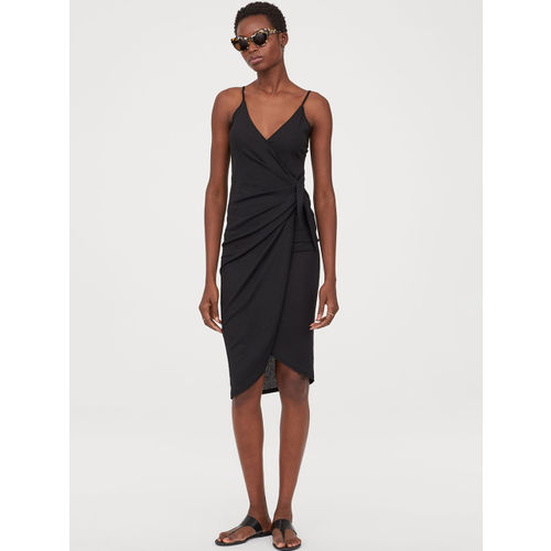 H&M Women Black Solid Wrap Dress With Ties