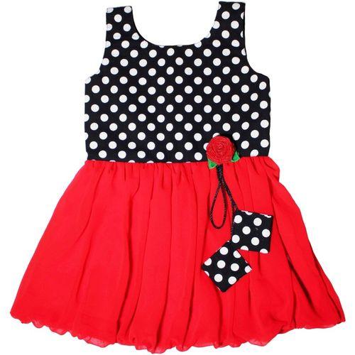 MVD Fashion Girls Midi/Knee Length Casual Dress(Red, Sleeveless)