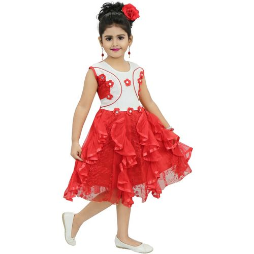 Chandrika Pearls Girls Midi/Knee Length Party Dress(Red, Sleeveless)