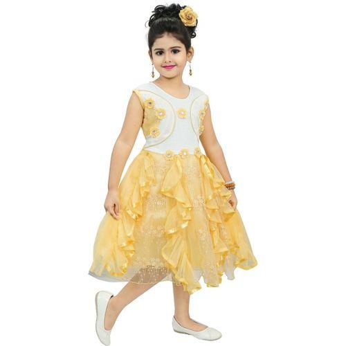 Chandrika Pearls Girls Midi/Knee Length Party Dress(Beige, Sleeveless)