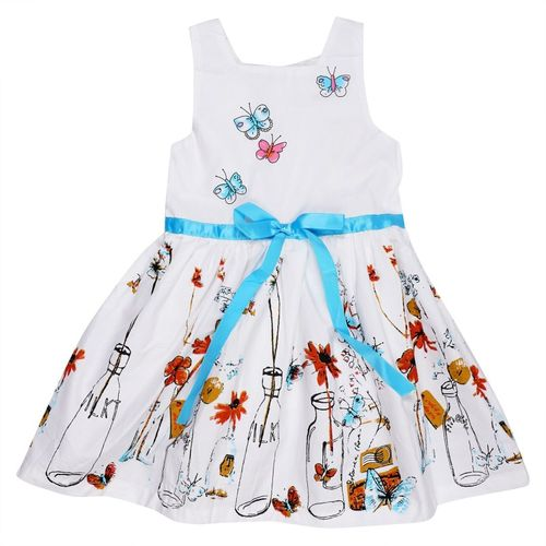 Icable Girls Midi/Knee Length Casual Dress(White, Sleeveless)