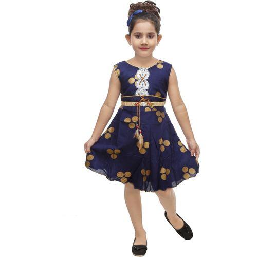 BNB Creations Girls Midi/Knee Length Casual Dress(Dark Blue, Sleeveless)