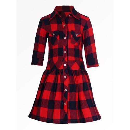 Naughty Ninos Girls Midi/Knee Length Casual Dress(Red, Full Sleeve)