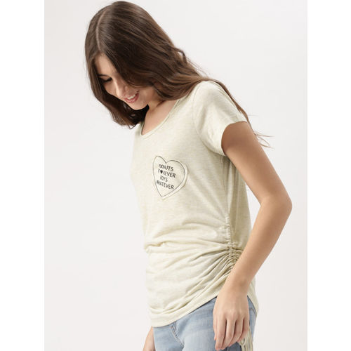 DressBerry Women Beige Solid Top