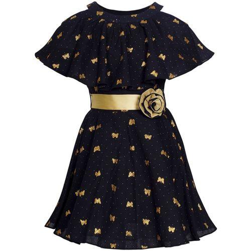 Naughty Ninos Girls Midi/Knee Length Casual Dress(Black, Sleeveless)