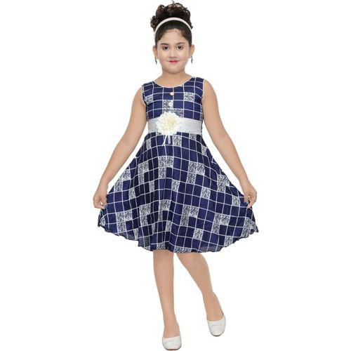 N BAHUBALI Girls Midi/Knee Length Casual Dress(Blue, Sleeveless)